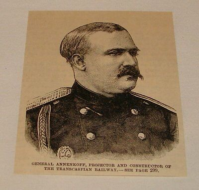 1887 small magazine engraving ~ GENERAL ANNENKOFF
