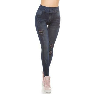 Sexy Used-Look Jeggings Leggings In Jeans-Optik Dunkelblau 34/36/38 #H1433