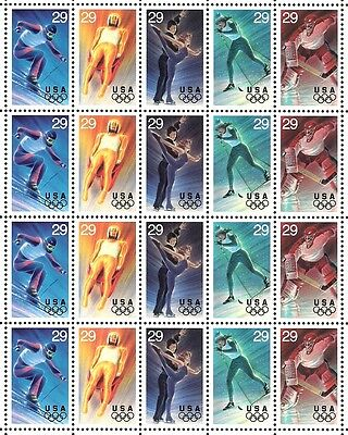 1994 - WINTER OLYMPICS - #2807-11 Full Mint -MNH- Sheet of 20 Postage Stamps
