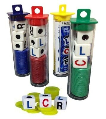 (5) LCR Dice Game Left Center Right Fast-Paced Travel Family w/ Chips & Dice