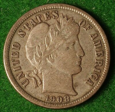 US 1908 Silver Barber Dime in very nice condition - FREE UK POSTAGE