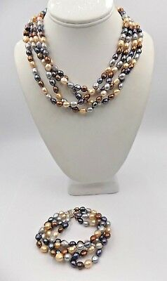 8fa6992936f8b5 IPS Imperial Pearls Cultured Freshwater Pearl Multi-strand Necklace &  Bracelet
