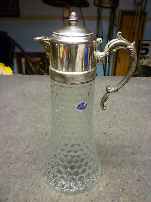 FB Rogers Glass & Silver Plate Chiller Carafe Pitcher Wine Decanter Italy Crystl