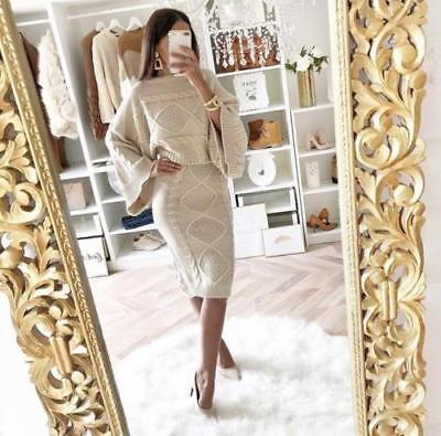 Ladies Womens Chunky Cable Knitted Two Piece Flared Jumper Skirt Co-Ord Suit Set