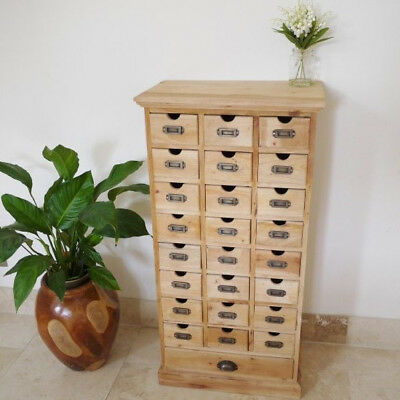 25 Drawer Solid Mahogany Rustic Unfinished Storage Chest Organiser Side Cabinet