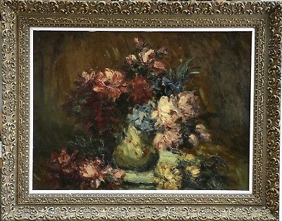 c. 1900 LARGE FRENCH IMPRESSIONIST OIL ON PANEL FLOWERS IN VASE - BEAUTIFUL