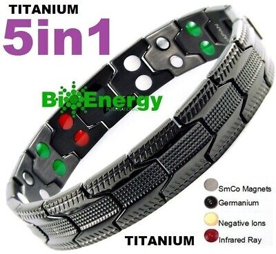 TITANIUM Magnetic Energy Armband Power Bracelet Bio GERMANIUM 5in1 Magnet 54879
