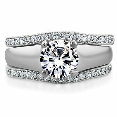 Annello by Kobelli 14k White Gold Round Cut Moissanite Solitaire and 1/3ct TDW