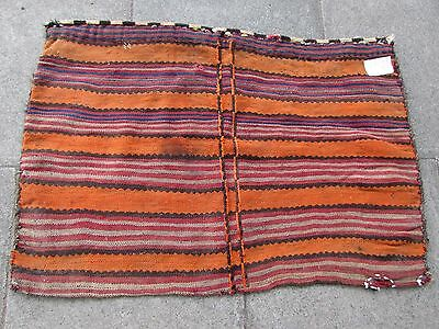 Old Hand Made Traditional Persian Oriental Wool Orange Red kilim Bag 72x112cm