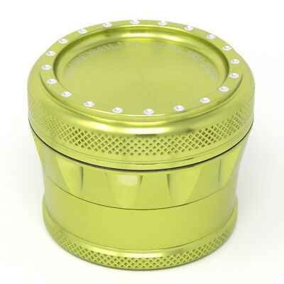 Chromium Crusher Drum V2 New Grip 2.0 Inch 4 Piece Tobacco Herb Grinder - Green