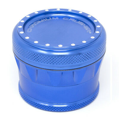 Chromium Crusher Drum V2 New Grip 2.0 Inch 4 Piece Tobacco Herb Grinder - Blue