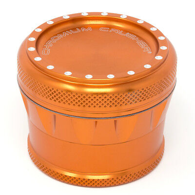 Chromium Crusher Drum V2 New Grip 2.0 Inch 4 Piece Tobacco Herb Grinder - Orange
