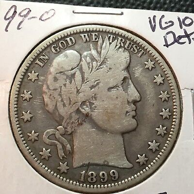 1899-O  VG-Fine Detail  Barber Half Dollar  LITY and top of BER  Better Date