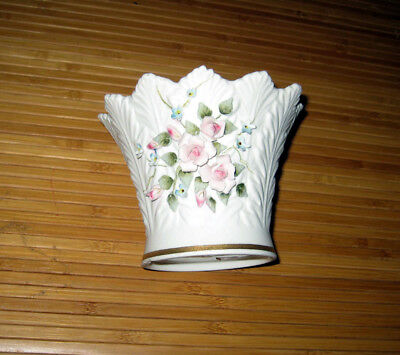 Vintage Lefton China Bisque & Porcelain Vase Applied Floral Decoration Japan