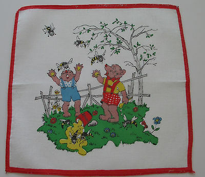 Vintage Child's White Batiste Hankie Red Border Bears Honeybees 8 x 8-1/4 1950s