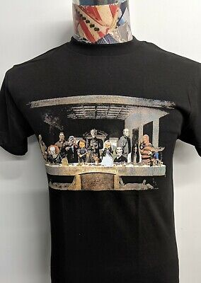 Freddy Chucky Pinhead Jason Jigsaw Halloween Monster Last Supper Black T Shirt