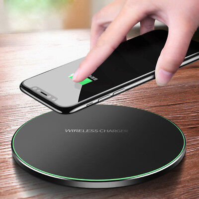 Qi Wireless Fast Charger Slim Pad Charging Dock Mat for iPhone X 8 Samsung S9 S8
