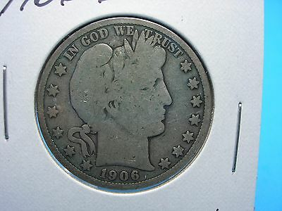 Early 1906-D Silver Barber Half Dollar G/VG