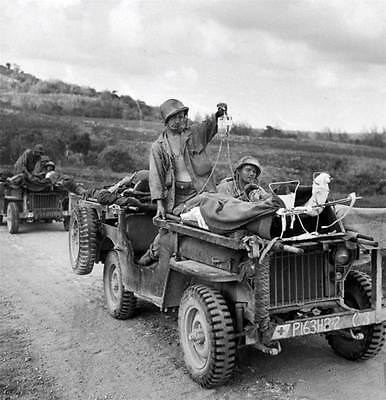 WWII B&W Photo US Soldiers and Wounded on Medic Jeeps Saipan  WW2 / 1158