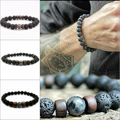 Natural Lava Rock Elastic Stone Beads Yoga Bangle Men Women Bracelets 18.5cm