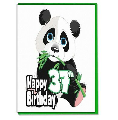 Panda 37th Birthday Card