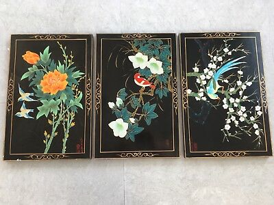 Vintage Japanese Hand Painted Panels