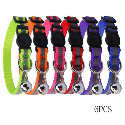 6PCS Reflective Adjustable Pet Dog Cat Collars Safety Quick Release Bell dg