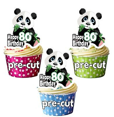 Other Baking Accessories 44th Birthday Panda Precut Cup Cake Toppers Ladies Mens Son Daughter Friend