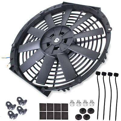"16"" Universal Straight 12V Radiator Intercooler Electric Push Pull Cooling Fan"