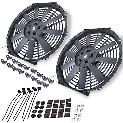 "12"" Universal Straight 12V Radiator Intercooler Electric Push Pull Cooling Fans"