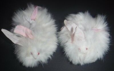 Vintage Baby Shoes Booties Moccasins Rabbit Fur Pink Eyes Mouse