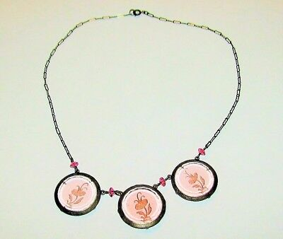 ART DECO ANTIQUE 1920s STERLING SILVER & PINK FLORAL INTAGLIO GLASS NECKLACE
