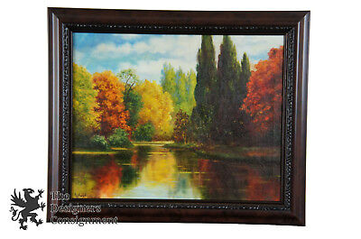 """20th Century Oil on Canvas Fall Landscape Autumn Trees Lake Cypress Signed  23"""""""