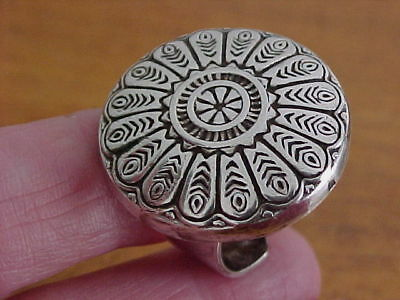 Dramatic Byzantine Design Ring, Egypt Circa 1946, 800 Silver, Adjustable Size