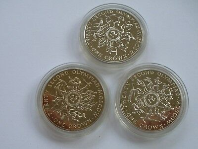 Isle Of Man - Group Of Three Different 1980 Olympic Crowns - Bu - Uk Post Free