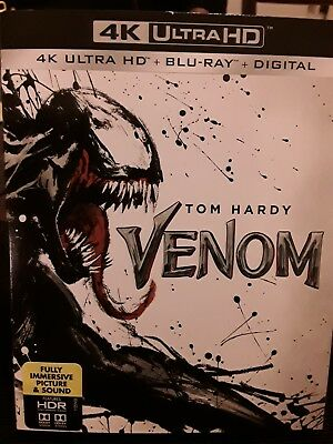 Venom (4K Ultra HD + Blu-ray + Digital Code, 2018) Factory Sealed with Slipcover