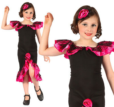 3eb46a4f2 Childrens Rumba Girl Fancy Dress Costume Salsa Flamenco Outfit Kids Childs M