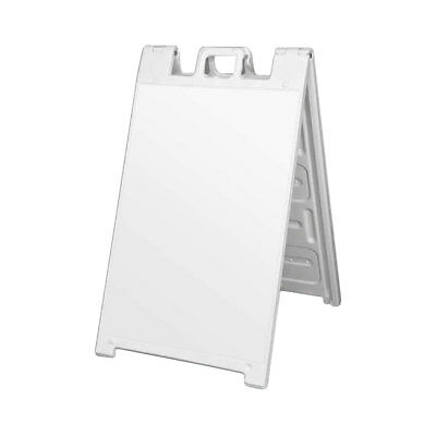 Plasticade Signicade Portable Folding Sidewalk Double Sided Sign Stand, White