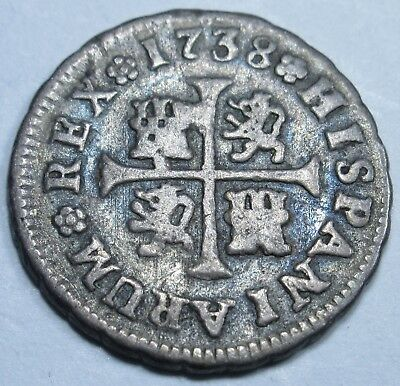 1738 Spanish Silver 1/2 Reales Piece of 8 Real US Colonial Pirate Treasure Coin