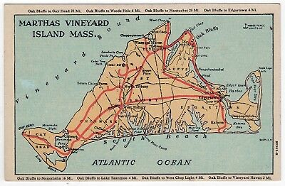 MARTHA'S VINEYARD ISLAND Marthas MASSACHUSETTS PC Postcard MAP Edgartown