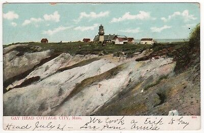 1906 MARTHA'S VINEYARD PC Postcard MASSACHUSETTS Gay Head AQUINNAH Cliffs MV MA