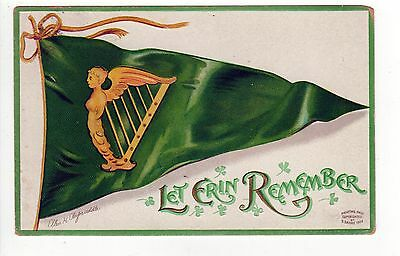 ELLEN CLAPSADDLE PC Postcard IRISH St Patrick's Day IRELAND Eire ERIN Harp