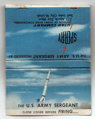 US ARMY SERGEANT Sperry Rand Corporation Bombs MILITARY Matchbook Cover UTAH CO