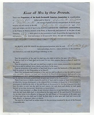 1870 SOUTH DARTMOUTH MASSACHUSETTS Legal Document DEED Gifford CEMETERY