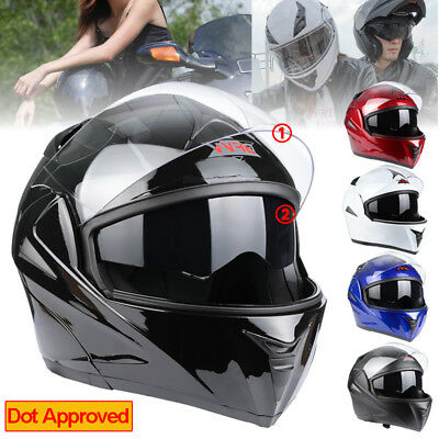 DOT Full Face Flip up Motorcycle Helmet Dual Visor Bike Race 5 Colors Option M/L