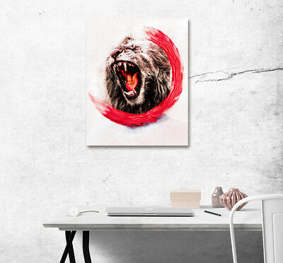 Howling Wild Bear Abstract Art on Canvas Painting Home Wall Photo Print Decor