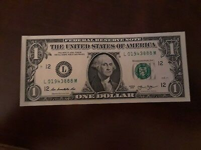 2013 $1 One Dollar Bill Lucky Chinese New Year serial number 888