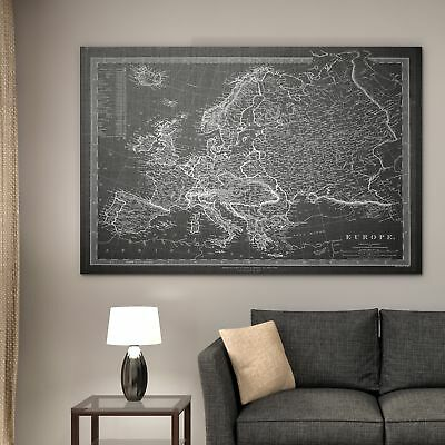 Vintage Map Europe Gray - Premium Gallery Wrapped Canvas