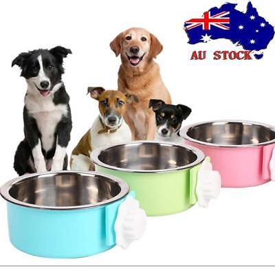 Pet Dog Cat Rabbit Food Water Fixed Stainless Steel Bowl Cage Hanging Feeder AU