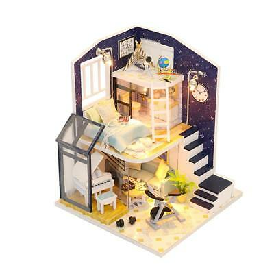 DIY Wooden Hut Toy Doll House Miniature Kit Kids Birthday Gift Educational Toys